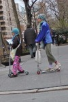 City kids: scoots, totes, miss matched socks.