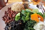 Steamed veggies, brown rice and beans, sea weed, mushroom gravy