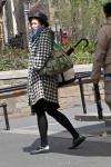 Hounds tooth coat, fedora, umbrella combo; velly nice