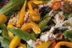 "Mixed green salad, heirloom tomats, sugar snap peas, ""wet"" tuna with balsamic vinaigrette"