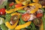 "Mixed green salad, ""dry"" tuna with lemon and salt."
