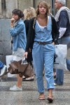 denim jumpsuit/double braids/bow belt