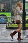 short trench/cute purse/leather boot with tabs