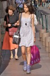LOVE!  super cute sundress and lilac color doc martins.  yes.