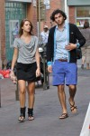 her: slouchy look, his: cardigan and blue shorts