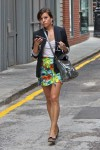 love the Hawaiian print skirt with the conservative blazer