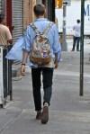 floral back pack and denim shirt!
