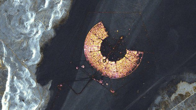 Burning man as seen from outerspace NASA