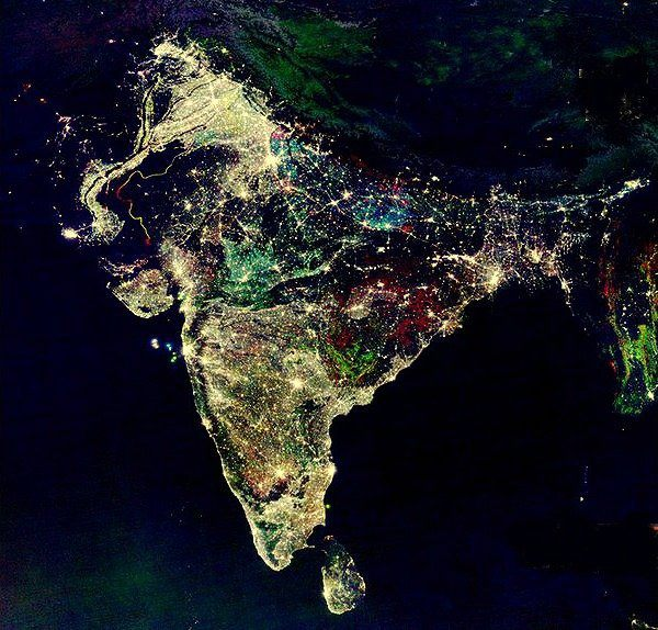 India at night during Diwali NASA